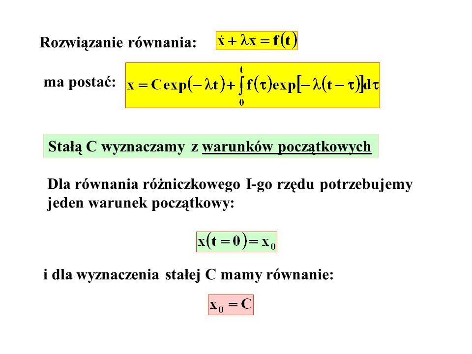 Rozwiązanie równania: ma postać: Stałą C wyznaczamy z warunków początkowych Dla równania różniczkowego I-go rzędu potrzebujemy jeden warunek początkow
