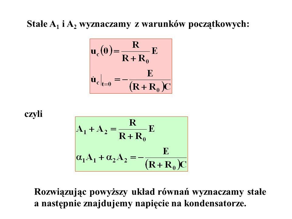 Stałe A 1 i A 2 wyznaczamy z warunków początkowych: czyli Rozwiązując powyższy układ równań wyznaczamy stałe a następnie znajdujemy napięcie na konden