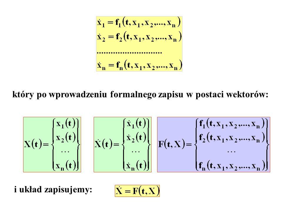 który po wprowadzeniu formalnego zapisu w postaci wektorów: i układ zapisujemy: