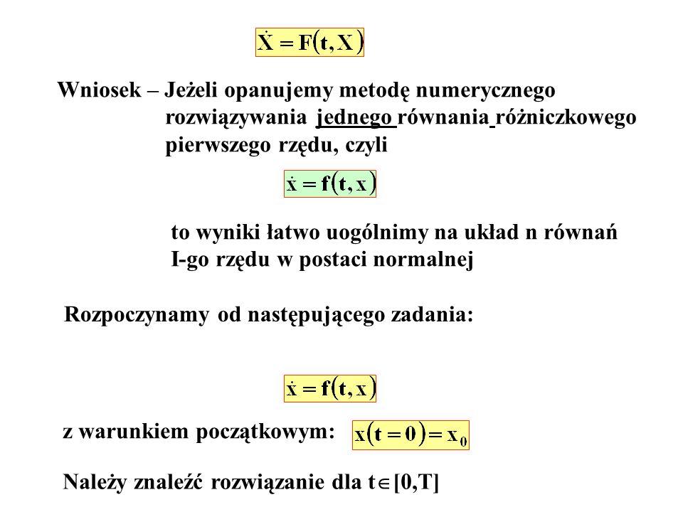 Wniosek – Jeżeli opanujemy metodę numerycznego rozwiązywania jednego równania różniczkowego pierwszego rzędu, czyli to wyniki łatwo uogólnimy na układ