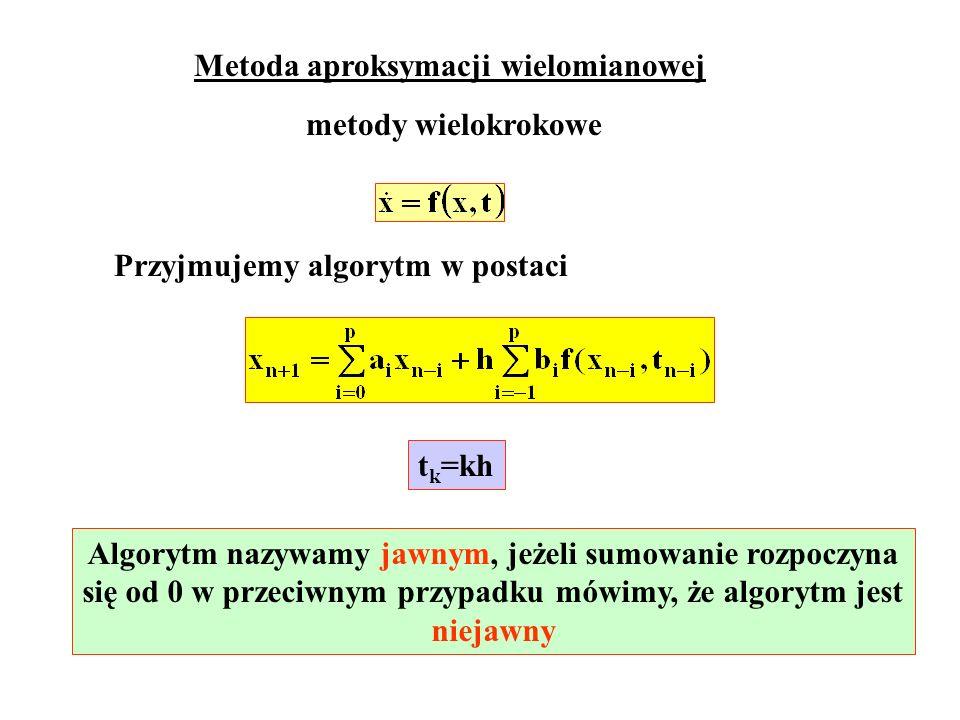 Metoda aproksymacji wielomianowej metody wielokrokowe Przyjmujemy algorytm w postaci t k =kh Algorytm nazywamy jawnym, jeżeli sumowanie rozpoczyna się