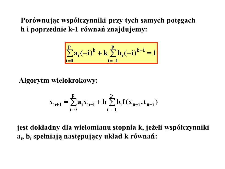 Porównując współczynniki przy tych samych potęgach h i poprzednie k-1 równań znajdujemy: Algorytm wielokrokowy: jest dokładny dla wielomianu stopnia k