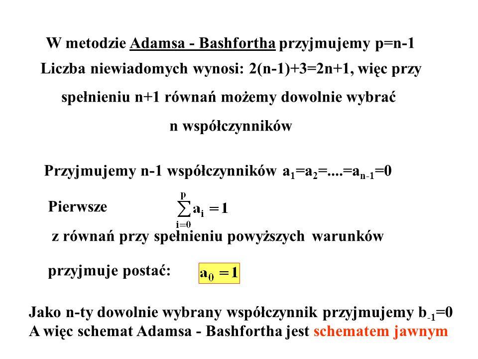 W metodzie Adamsa - Bashfortha przyjmujemy p=n-1 Liczba niewiadomych wynosi: 2(n-1)+3=2n+1, więc przy spełnieniu n+1 równań możemy dowolnie wybrać n w