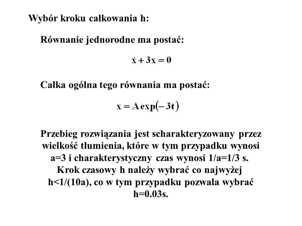 Równanie jednorodne ma postać: Całka ogólna tego równania ma postać: Przebieg rozwiązania jest scharakteryzowany przez wielkość tłumienia, które w tym