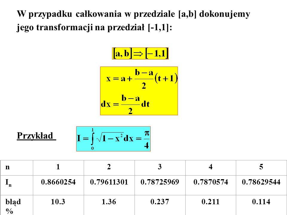 gdzie błąd określa wzór: -1< <1 Przykład: transformacja przedziału [0,1] do przedziału [-1,1]: i całka przyjmuje postać: Z oceny błędu widać, że wystarczy wybrać N=3, a wynik będzie dokładny i mamy: I=1.96349541