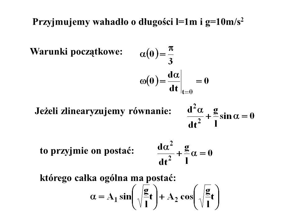 Przyjmujemy wahadło o długości l=1m i g=10m/s 2 Warunki początkowe: Jeżeli zlinearyzujemy równanie: to przyjmie on postać: którego całka ogólna ma pos