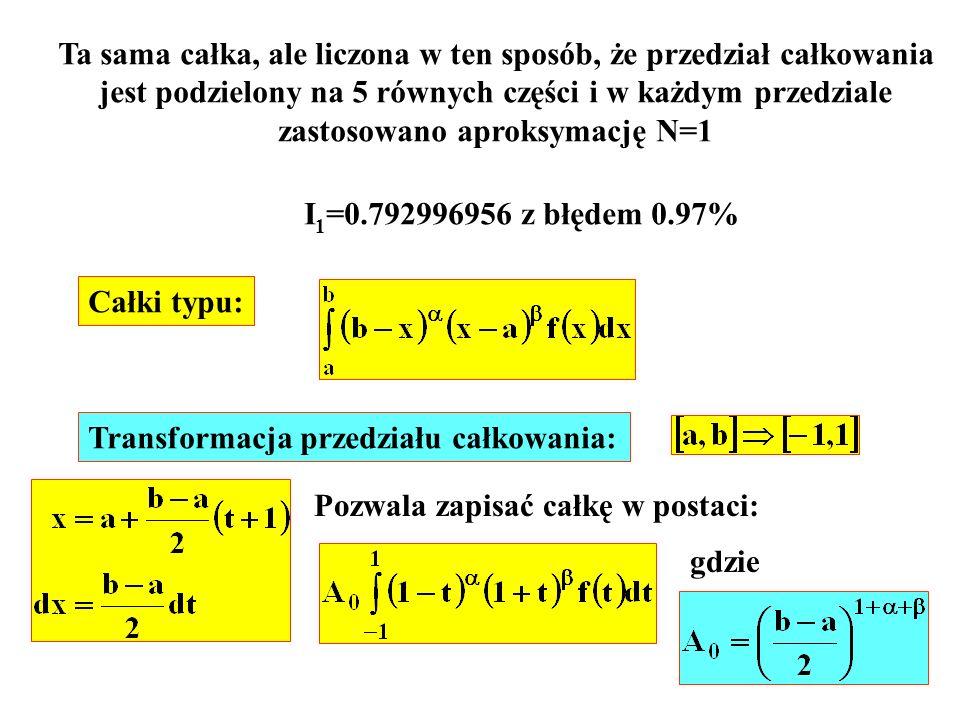 Ta sama całka, ale liczona w ten sposób, że przedział całkowania jest podzielony na 5 równych części i w każdym przedziale zastosowano aproksymację N=