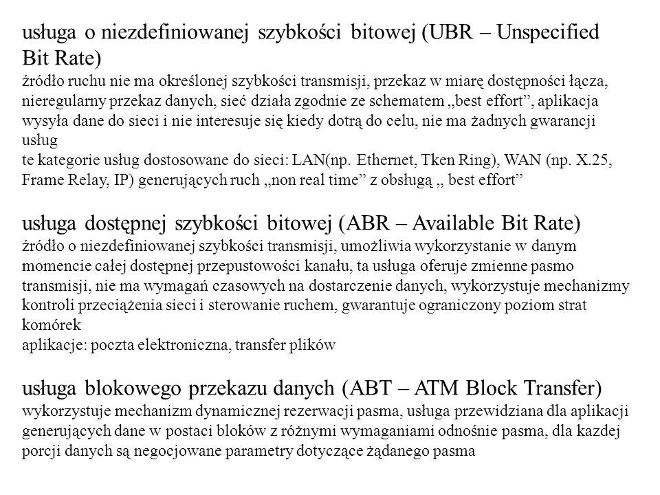 usługa o niezdefiniowanej szybkości bitowej (UBR – Unspecified Bit Rate) źródło ruchu nie ma określonej szybkości transmisji, przekaz w miarę dostępno
