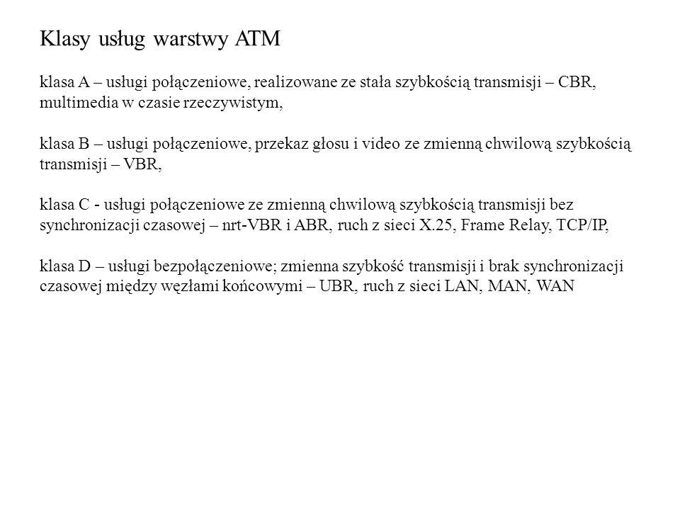 Klasy usług warstwy ATM klasa A – usługi połączeniowe, realizowane ze stała szybkością transmisji – CBR, multimedia w czasie rzeczywistym, klasa B – u