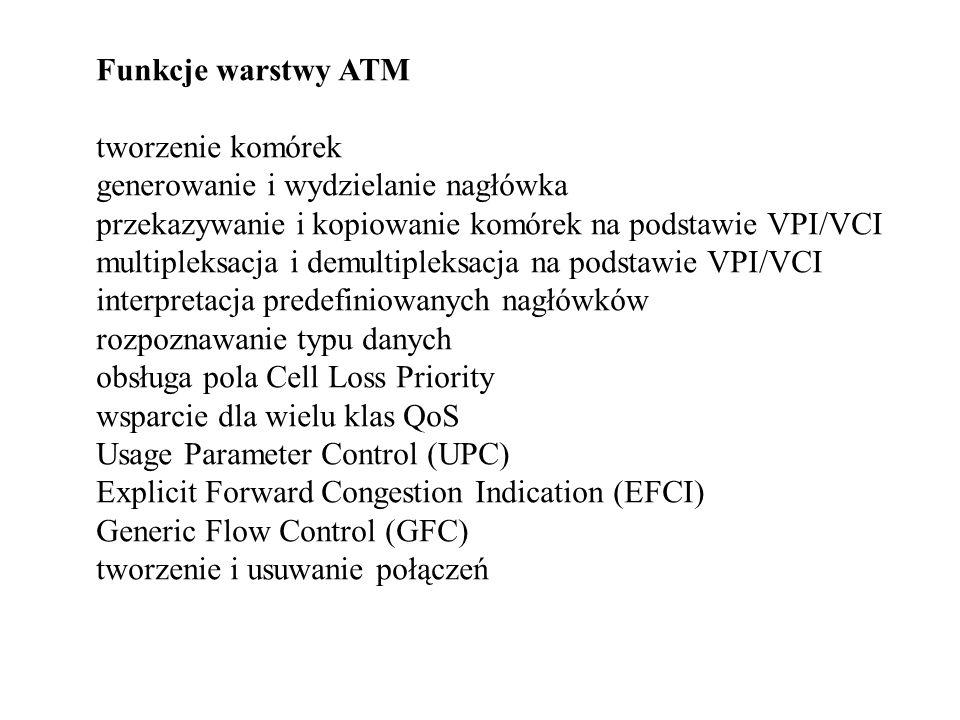Funkcje warstwy ATM tworzenie komórek generowanie i wydzielanie nagłówka przekazywanie i kopiowanie komórek na podstawie VPI/VCI multipleksacja i demu