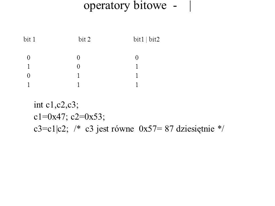 operatory bitowe - | bit 1bit 2bit1 | bit2 0 0 0 1 0 1 0 1 1 1 1 1 int c1,c2,c3; c1=0x47; c2=0x53; c3=c1|c2; /* c3 jest równe 0x57= 87 dziesiętnie */