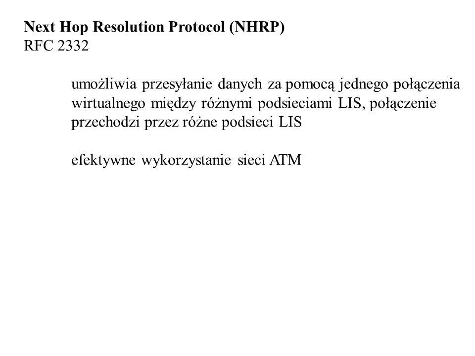 Next Hop Resolution Protocol (NHRP) RFC 2332 umożliwia przesyłanie danych za pomocą jednego połączenia wirtualnego między różnymi podsieciami LIS, połączenie przechodzi przez różne podsieci LIS efektywne wykorzystanie sieci ATM