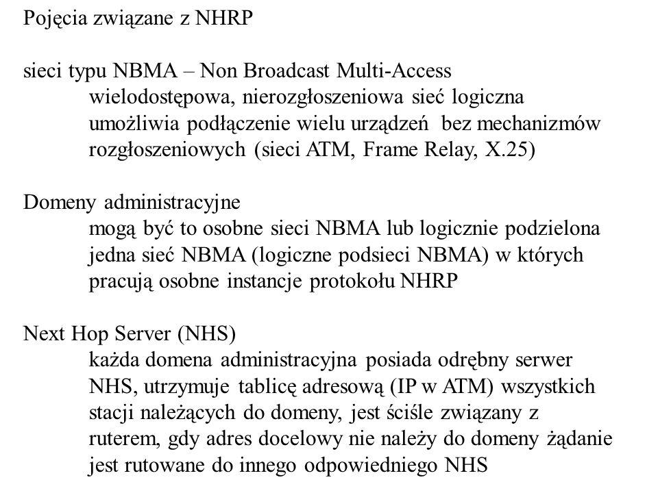 Pojęcia związane z NHRP sieci typu NBMA – Non Broadcast Multi-Access wielodostępowa, nierozgłoszeniowa sieć logiczna umożliwia podłączenie wielu urządzeń bez mechanizmów rozgłoszeniowych (sieci ATM, Frame Relay, X.25) Domeny administracyjne mogą być to osobne sieci NBMA lub logicznie podzielona jedna sieć NBMA (logiczne podsieci NBMA) w których pracują osobne instancje protokołu NHRP Next Hop Server (NHS) każda domena administracyjna posiada odrębny serwer NHS, utrzymuje tablicę adresową (IP w ATM) wszystkich stacji należących do domeny, jest ściśle związany z ruterem, gdy adres docelowy nie należy do domeny żądanie jest rutowane do innego odpowiedniego NHS