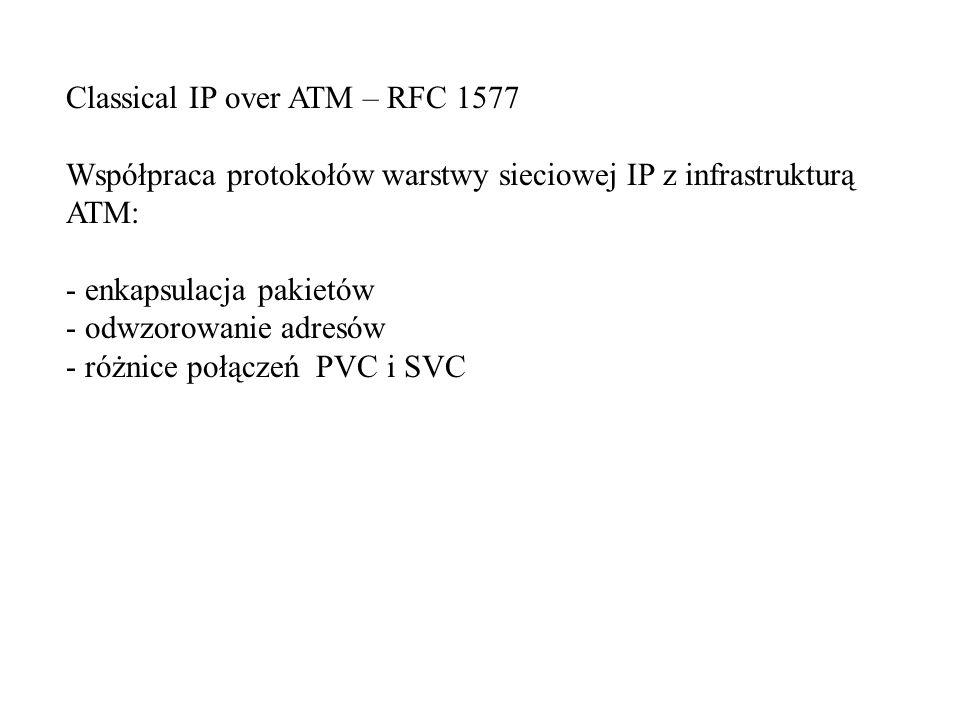 Classical IP over ATM – RFC 1577 Współpraca protokołów warstwy sieciowej IP z infrastrukturą ATM: - enkapsulacja pakietów - odwzorowanie adresów - różnice połączeń PVC i SVC