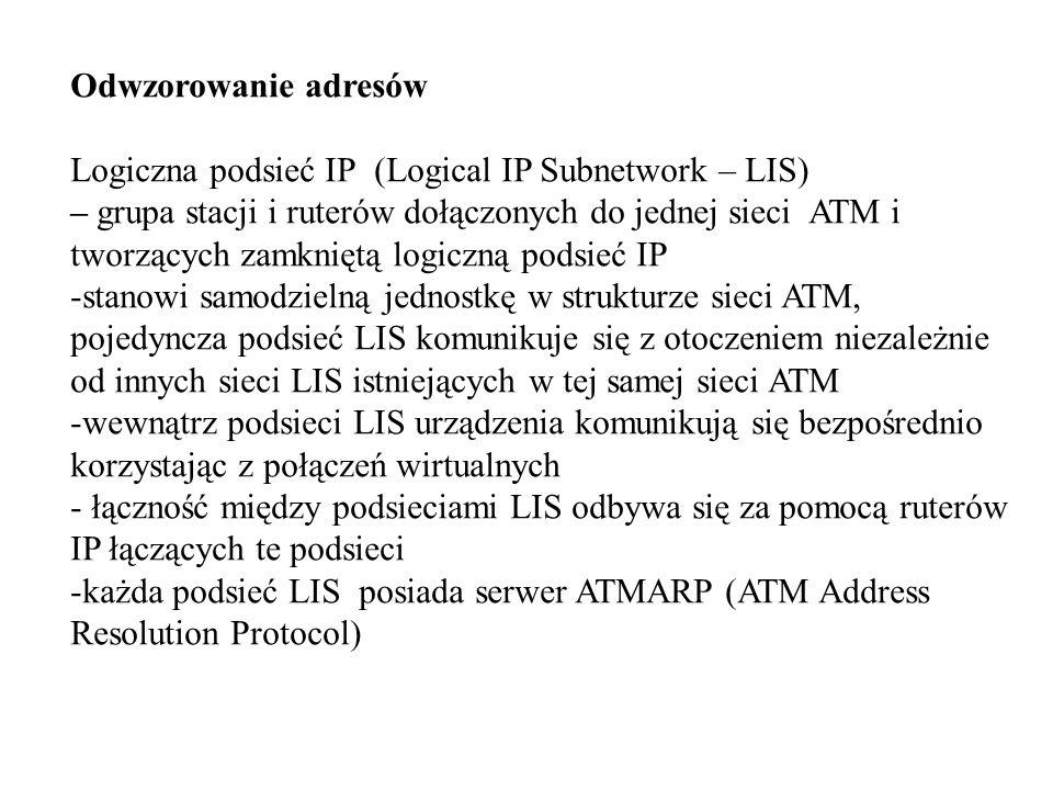 Odwzorowanie adresów Logiczna podsieć IP (Logical IP Subnetwork – LIS) – grupa stacji i ruterów dołączonych do jednej sieci ATM i tworzących zamkniętą logiczną podsieć IP -stanowi samodzielną jednostkę w strukturze sieci ATM, pojedyncza podsieć LIS komunikuje się z otoczeniem niezależnie od innych sieci LIS istniejących w tej samej sieci ATM -wewnątrz podsieci LIS urządzenia komunikują się bezpośrednio korzystając z połączeń wirtualnych - łączność między podsieciami LIS odbywa się za pomocą ruterów IP łączących te podsieci -każda podsieć LIS posiada serwer ATMARP (ATM Address Resolution Protocol)