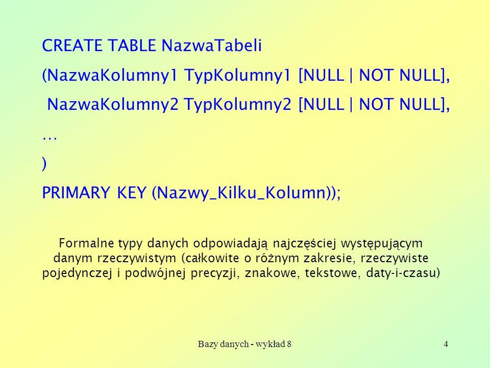 Bazy danych - wykład 85 mysql> INSERT INTO Nazwiska VALUES (12345, Jan , Kowalski ); Query OK, 1 row affected (0.00 sec) mysql> INSERT INTO Nazwiska VALUES -> (12346, Ewa , Piotrowska ), -> (12349, Tomasz , Kowlaski ), -> (12355, Agnieszka , Nowak ); Query OK, 3 rows affected (0.06 sec) Records: 3 Duplicates: 0 Warnings: 0 mysql> INSERT INTO Nazwiska (NrIndeksu,Nazwisko) -> VALUES (12378, Batory ); Query OK, 1 row affected (0.00 sec) Wstawianie danych