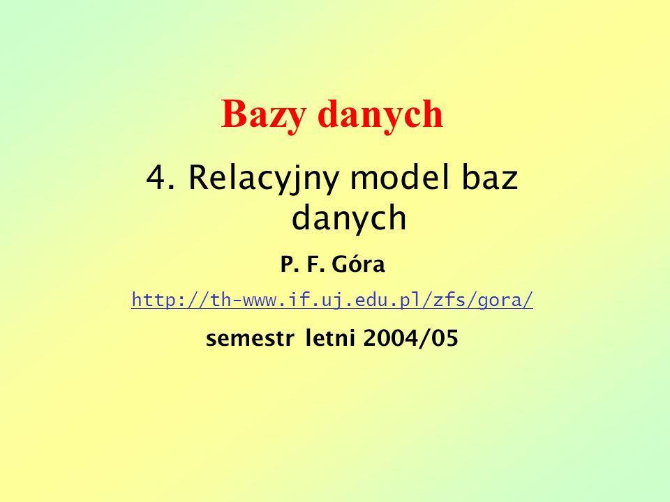 Bazy danych 4. Relacyjny model baz danych P. F. Góra http://th-www.if.uj.edu.pl/zfs/gora/ semestr letni 2004/05