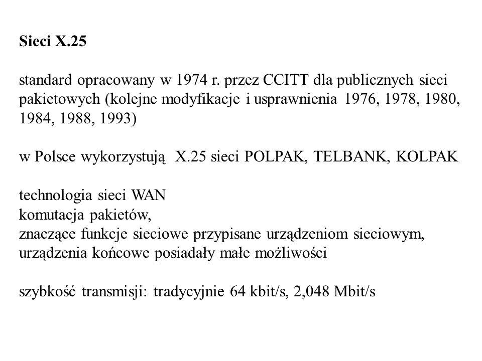 Sieci X.25 standard opracowany w 1974 r. przez CCITT dla publicznych sieci pakietowych (kolejne modyfikacje i usprawnienia 1976, 1978, 1980, 1984, 198