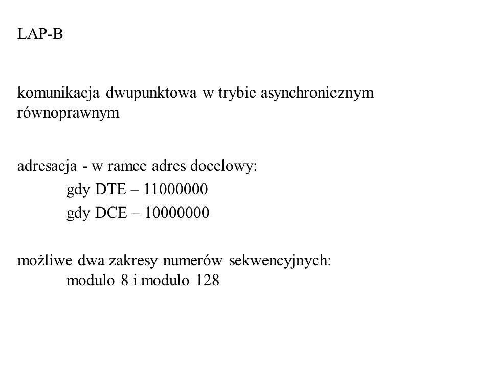 LAP-B komunikacja dwupunktowa w trybie asynchronicznym równoprawnym adresacja - w ramce adres docelowy: gdy DTE – 11000000 gdy DCE – 10000000 możliwe