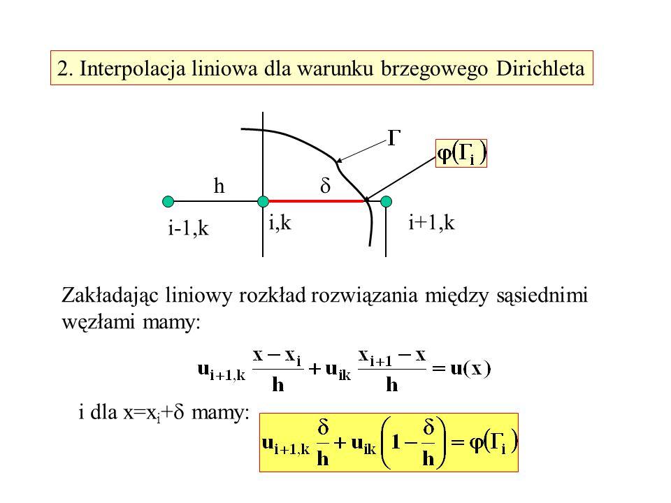 2. Interpolacja liniowa dla warunku brzegowego Dirichleta i,k i-1,k i+1,k h Zakładając liniowy rozkład rozwiązania między sąsiednimi węzłami mamy: i d