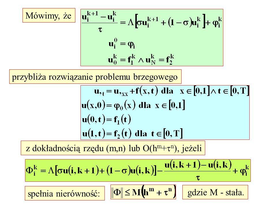Mówimy, że przybliża rozwiązanie problemu brzegowego z dokładnością rzędu (m,n) lub O(h m + n ), jeżeli spełnia nierówność: gdzie M - stała.