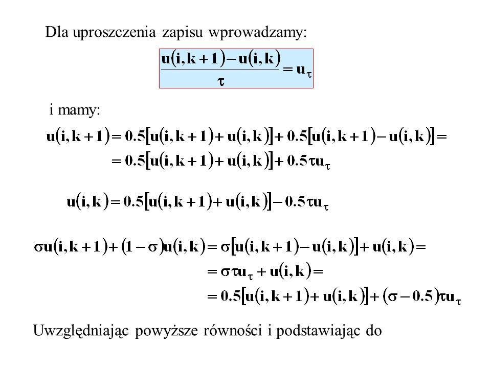 Dla uproszczenia zapisu wprowadzamy: i mamy: Uwzględniając powyższe równości i podstawiając do