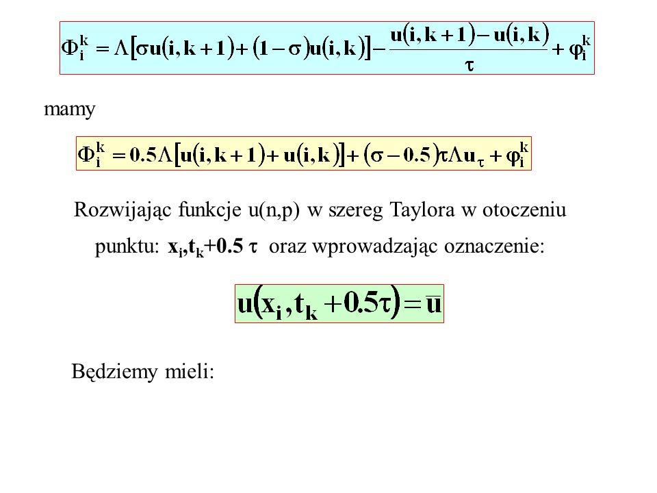 mamy Rozwijając funkcje u(n,p) w szereg Taylora w otoczeniu punktu: x i,t k +0.5 oraz wprowadzając oznaczenie: Będziemy mieli:
