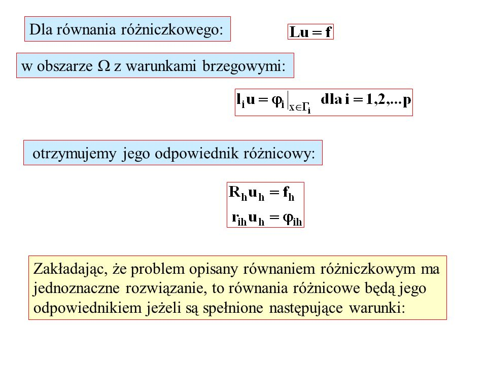 Dla równania różniczkowego: w obszarze z warunkami brzegowymi: otrzymujemy jego odpowiednik różnicowy: Zakładając, że problem opisany równaniem różnic