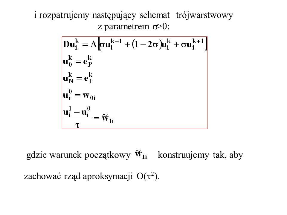 i rozpatrujemy następujący schemat trójwarstwowy z parametrem >0: gdzie warunek początkowykonstruujemy tak, aby zachować rząd aproksymacji O( 2 ).
