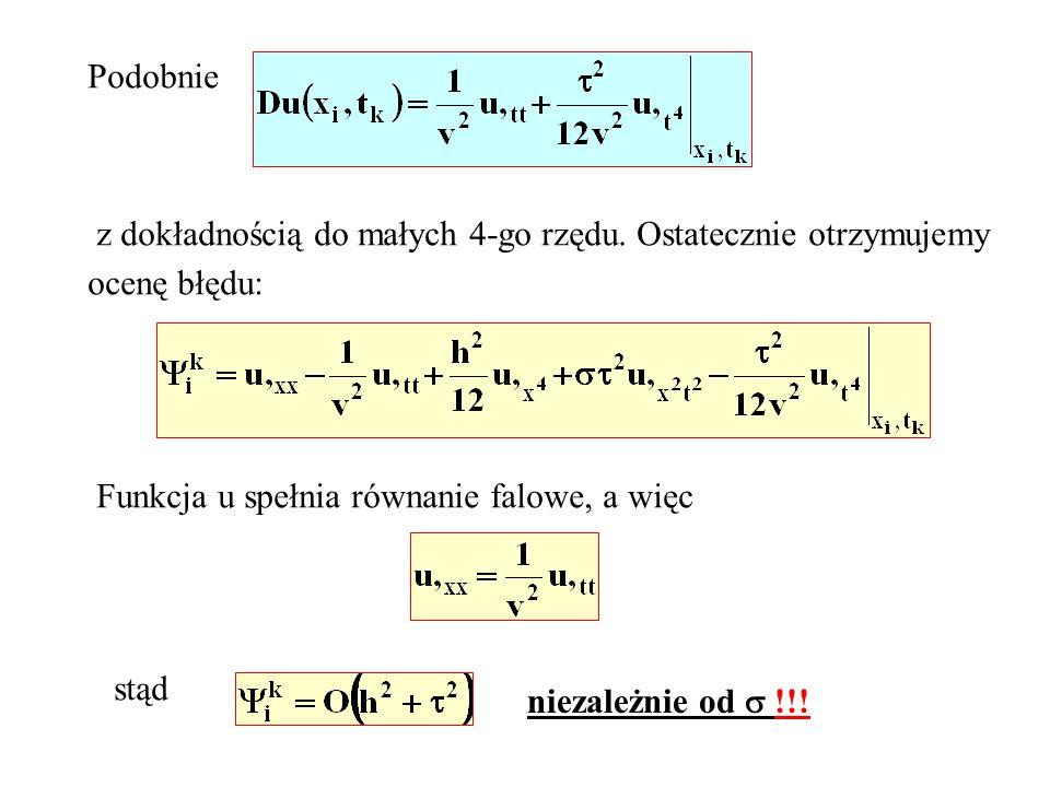 Podobnie z dokładnością do małych 4-go rzędu. Ostatecznie otrzymujemy ocenę błędu: Funkcja u spełnia równanie falowe, a więc stąd niezależnie od !!!