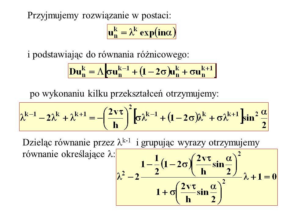 Przyjmujemy rozwiązanie w postaci: i podstawiając do równania różnicowego: po wykonaniu kilku przekształceń otrzymujemy: Dzieląc równanie przez k-1 i