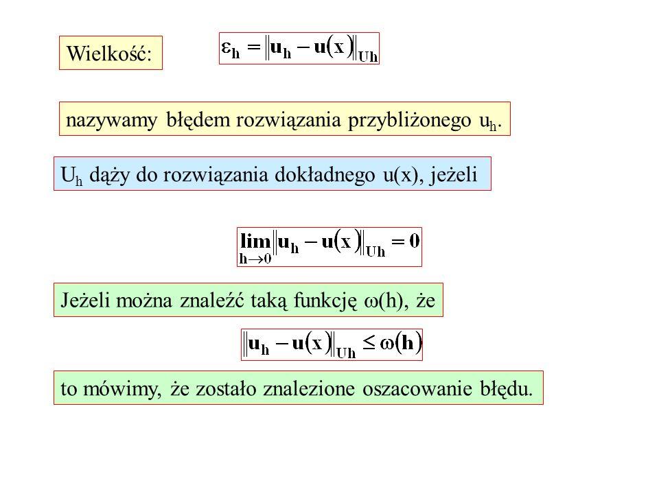 Wielkość: nazywamy błędem rozwiązania przybliżonego u h. U h dąży do rozwiązania dokładnego u(x), jeżeli Jeżeli można znaleźć taką funkcję (h), że to