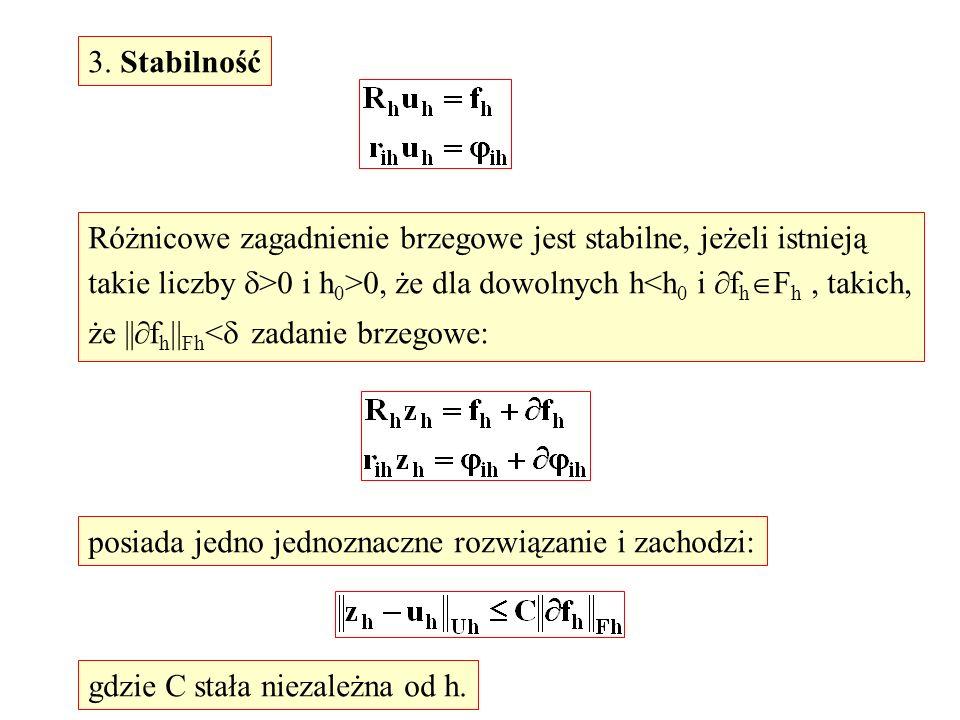 3. Stabilność Różnicowe zagadnienie brzegowe jest stabilne, jeżeli istnieją takie liczby >0 i h 0 >0, że dla dowolnych h<h 0 i f h F h, takich, że ||