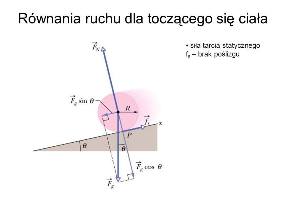 Równania ruchu dla toczącego się ciała siła tarcia statycznego f s – brak poślizgu