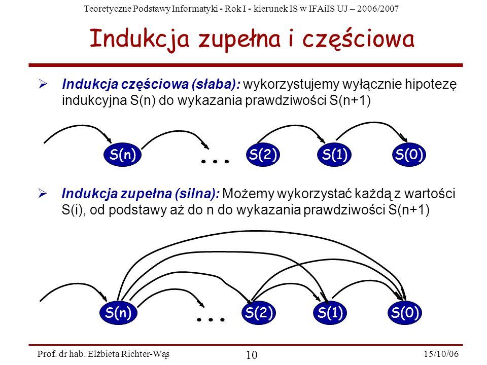 Teoretyczne Podstawy Informatyki - Rok I - kierunek IS w IFAiIS UJ – 2006/2007 15/10/06 10 Prof. dr hab. Elżbieta Richter-Wąs Indukcja zupełna i częśc