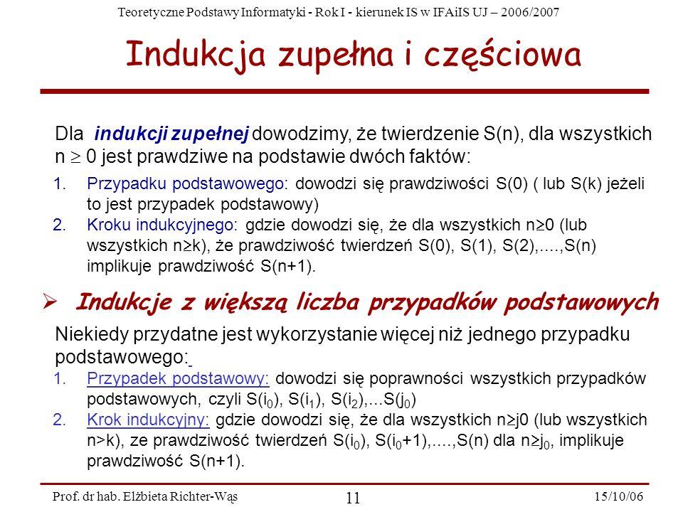 Teoretyczne Podstawy Informatyki - Rok I - kierunek IS w IFAiIS UJ – 2006/2007 15/10/06 11 Prof. dr hab. Elżbieta Richter-Wąs Dla indukcji zupełnej do