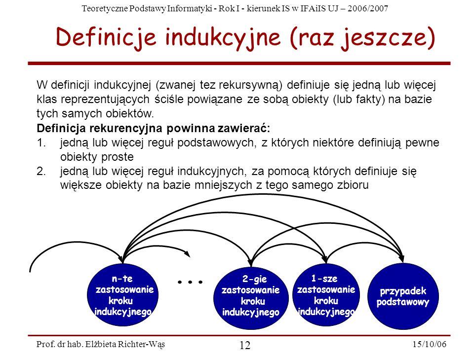 Teoretyczne Podstawy Informatyki - Rok I - kierunek IS w IFAiIS UJ – 2006/2007 15/10/06 12 Prof. dr hab. Elżbieta Richter-Wąs Definicje indukcyjne (ra