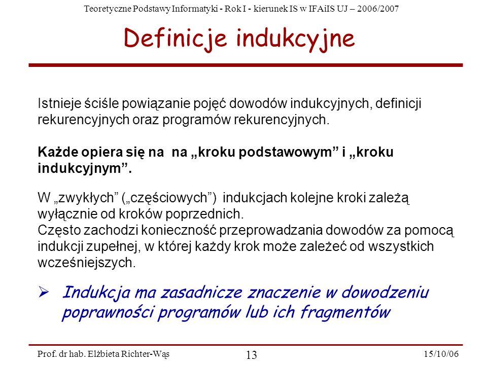 Teoretyczne Podstawy Informatyki - Rok I - kierunek IS w IFAiIS UJ – 2006/2007 15/10/06 13 Prof. dr hab. Elżbieta Richter-Wąs Istnieje ściśle powiązan