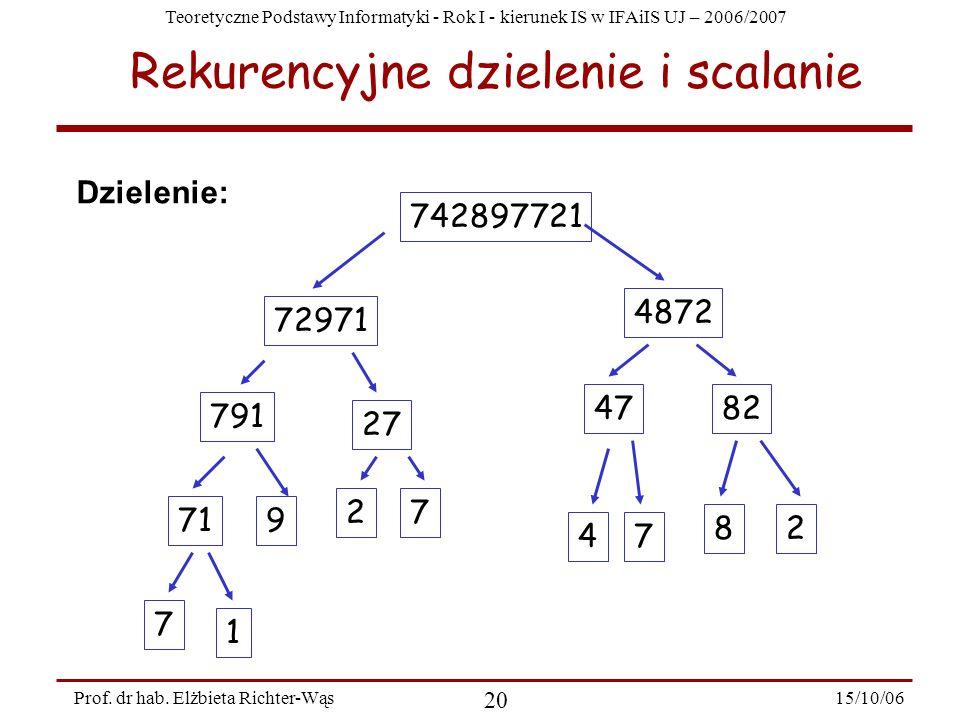 Teoretyczne Podstawy Informatyki - Rok I - kierunek IS w IFAiIS UJ – 2006/2007 15/10/06 20 Prof. dr hab. Elżbieta Richter-Wąs Rekurencyjne dzielenie i