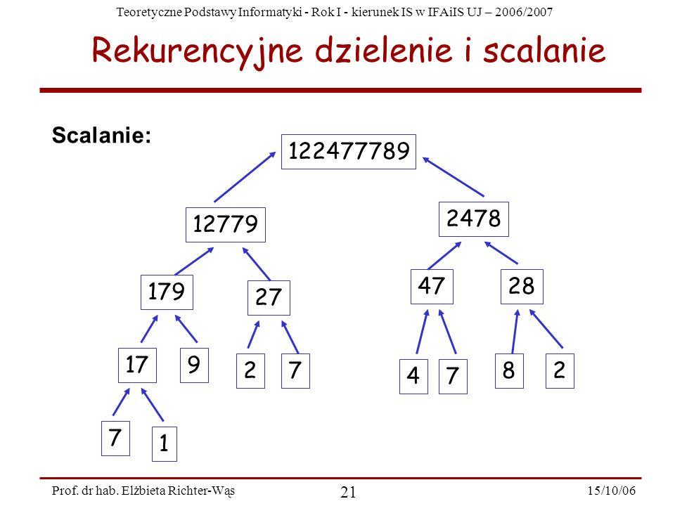 Teoretyczne Podstawy Informatyki - Rok I - kierunek IS w IFAiIS UJ – 2006/2007 15/10/06 21 Prof. dr hab. Elżbieta Richter-Wąs Rekurencyjne dzielenie i