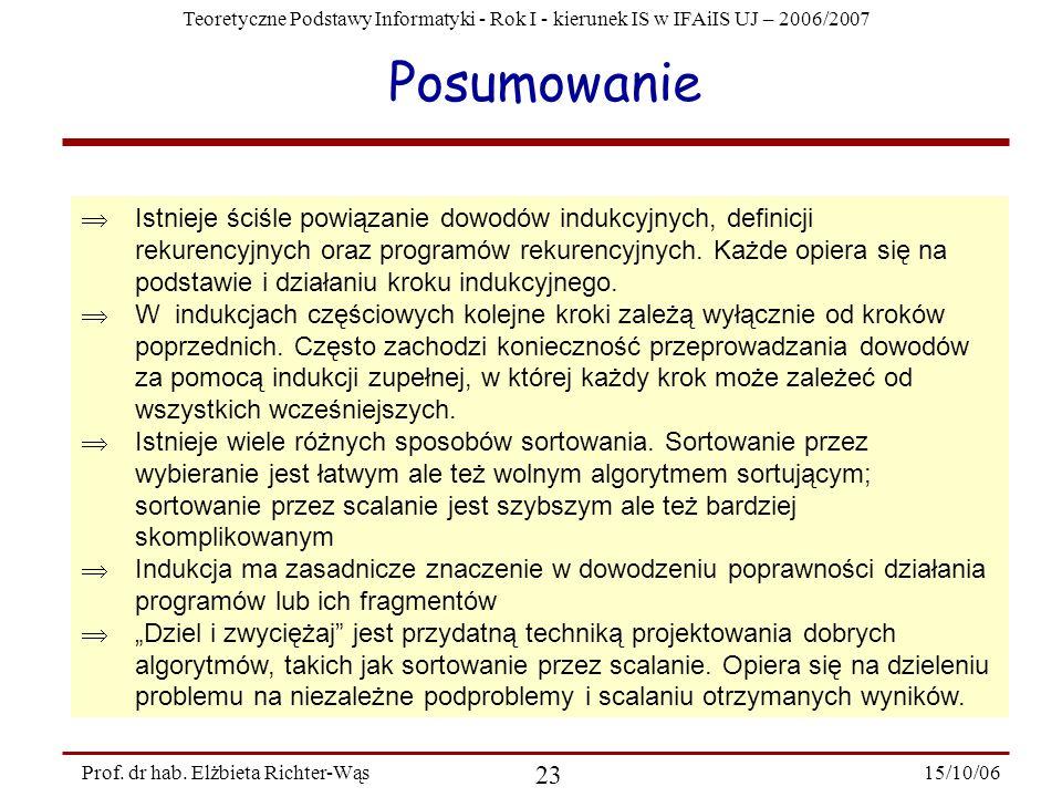 Teoretyczne Podstawy Informatyki - Rok I - kierunek IS w IFAiIS UJ – 2006/2007 15/10/06 23 Prof. dr hab. Elżbieta Richter-Wąs Posumowanie Istnieje ści