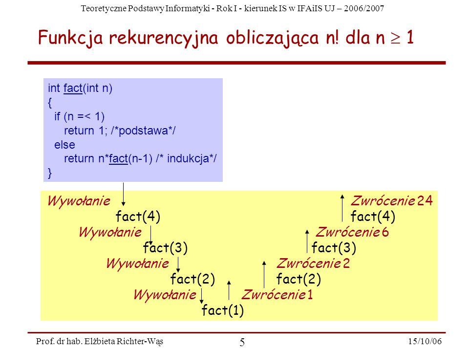Teoretyczne Podstawy Informatyki - Rok I - kierunek IS w IFAiIS UJ – 2006/2007 15/10/06 5 Prof. dr hab. Elżbieta Richter-Wąs Funkcja rekurencyjna obli