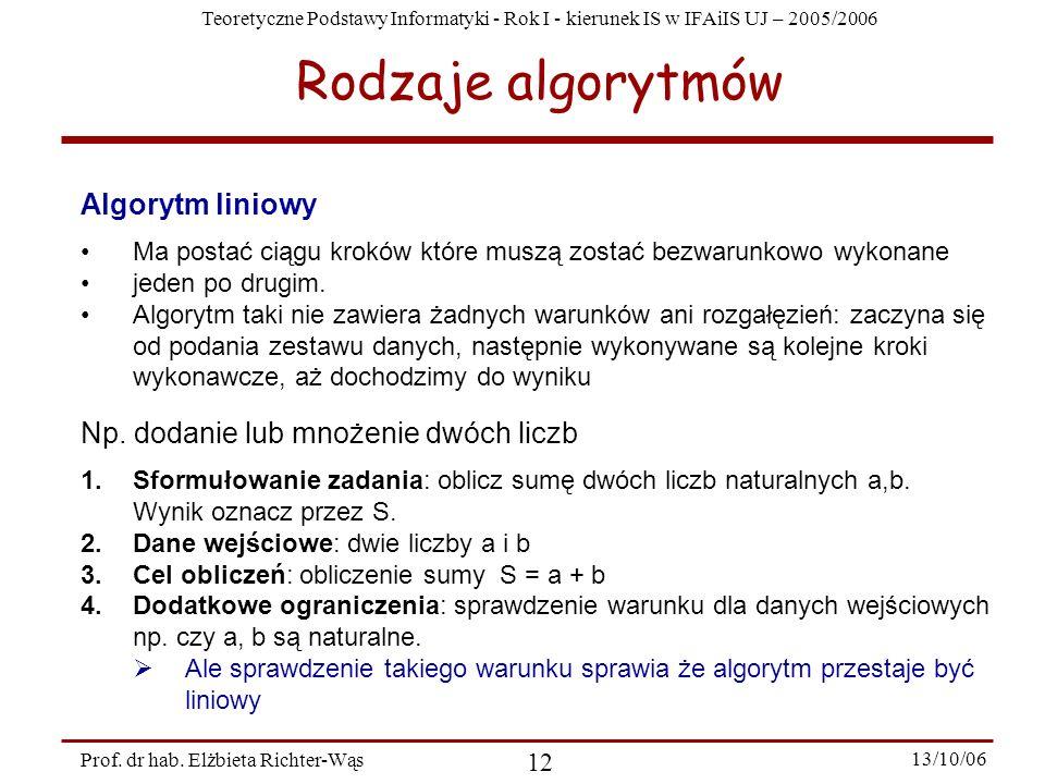 Teoretyczne Podstawy Informatyki - Rok I - kierunek IS w IFAiIS UJ – 2005/2006 Prof. dr hab. Elżbieta Richter-Wąs 12 13/10/06 Rodzaje algorytmów Algor
