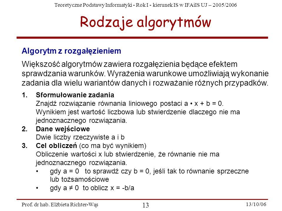 Teoretyczne Podstawy Informatyki - Rok I - kierunek IS w IFAiIS UJ – 2005/2006 Prof. dr hab. Elżbieta Richter-Wąs 13 13/10/06 Algorytm z rozgałęzienie