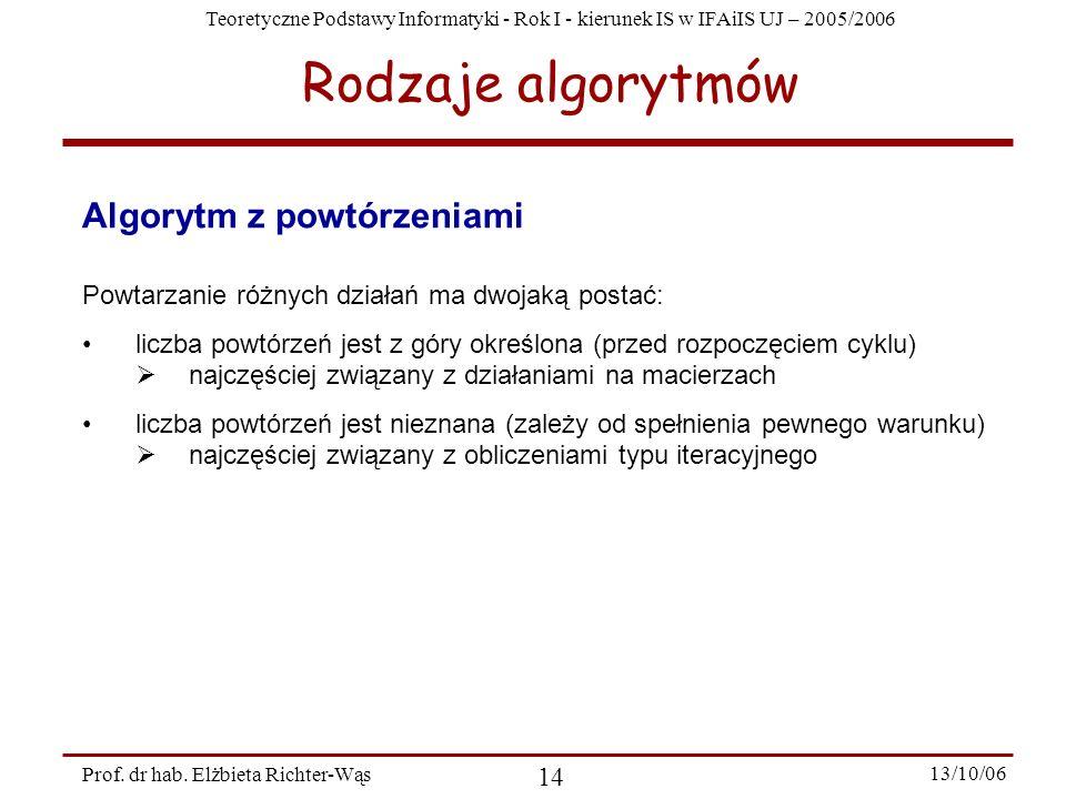 Teoretyczne Podstawy Informatyki - Rok I - kierunek IS w IFAiIS UJ – 2005/2006 Prof. dr hab. Elżbieta Richter-Wąs 14 13/10/06 Algorytm z powtórzeniami