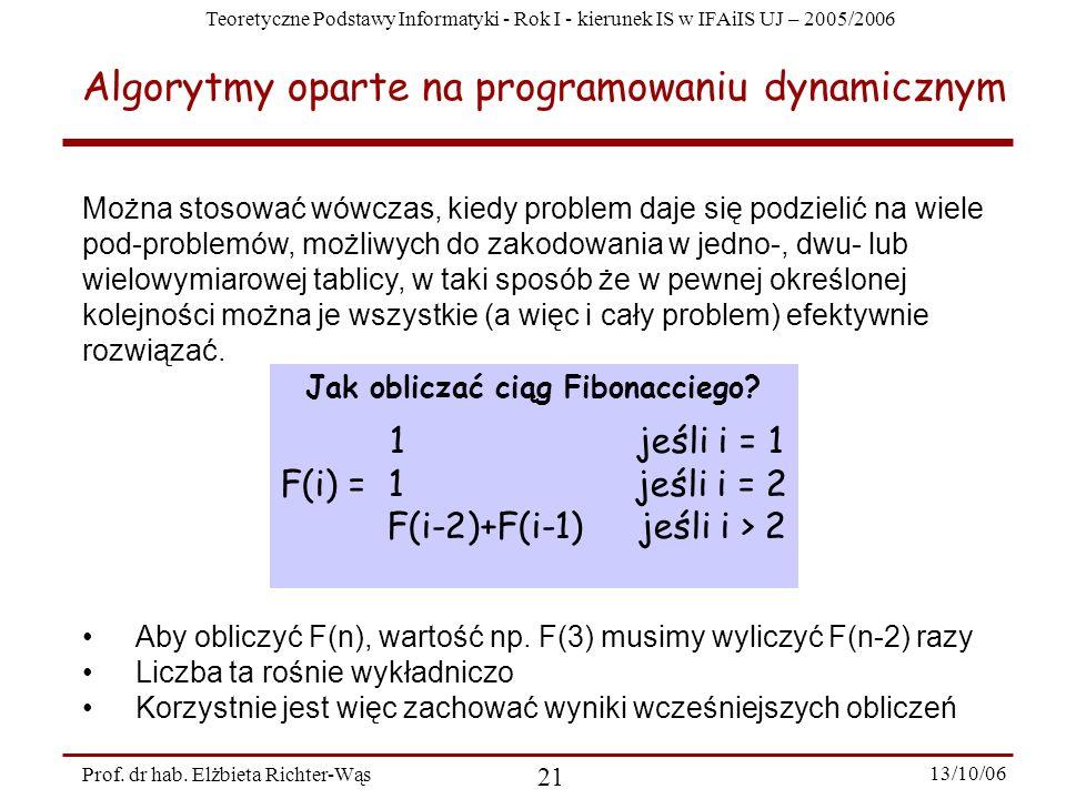 Teoretyczne Podstawy Informatyki - Rok I - kierunek IS w IFAiIS UJ – 2005/2006 Prof. dr hab. Elżbieta Richter-Wąs 21 13/10/06 Algorytmy oparte na prog