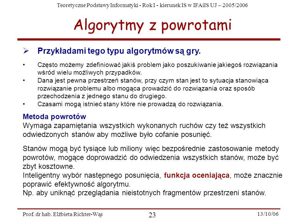 Teoretyczne Podstawy Informatyki - Rok I - kierunek IS w IFAiIS UJ – 2005/2006 Prof. dr hab. Elżbieta Richter-Wąs 23 13/10/06 Algorytmy z powrotami Cz