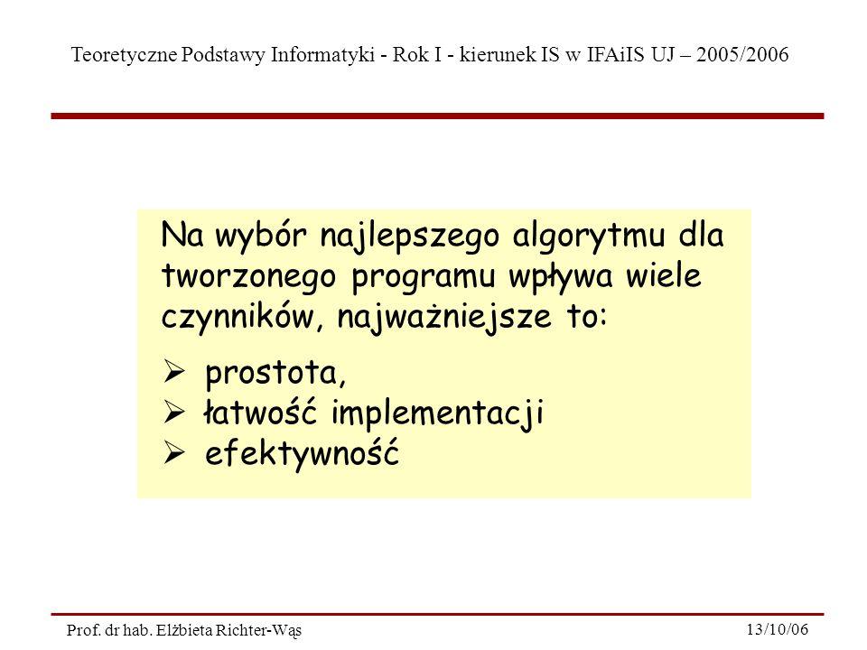 Teoretyczne Podstawy Informatyki - Rok I - kierunek IS w IFAiIS UJ – 2005/2006 Prof. dr hab. Elżbieta Richter-Wąs 13/10/06 Na wybór najlepszego algory