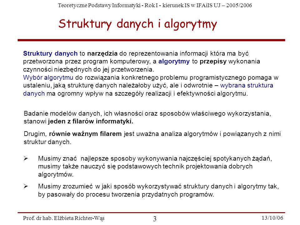 Teoretyczne Podstawy Informatyki - Rok I - kierunek IS w IFAiIS UJ – 2005/2006 Prof. dr hab. Elżbieta Richter-Wąs 3 13/10/06 Struktury danych to narzę