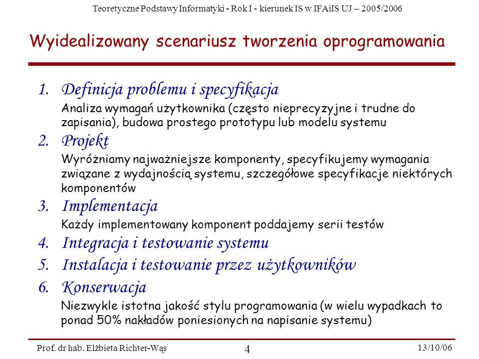 Teoretyczne Podstawy Informatyki - Rok I - kierunek IS w IFAiIS UJ – 2005/2006 Prof. dr hab. Elżbieta Richter-Wąs 4 13/10/06 1.Definicja problemu i sp